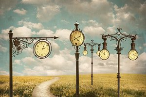 Surreal Landscape With Clocks
