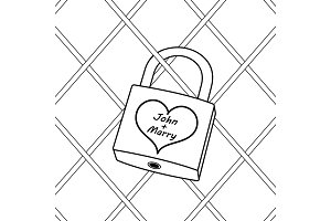 Padlock with heart coloring book vector