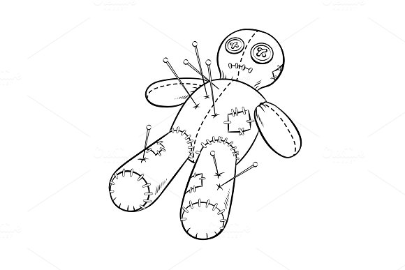 Voodoo doll coloring book vector