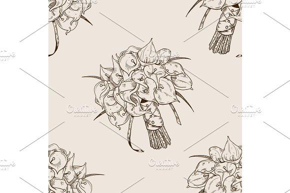 Calla flowers seamless pattern engraving vector