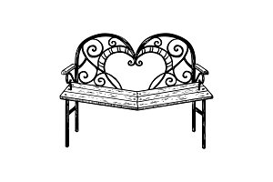 Reconciliation bench engraving vector illustration