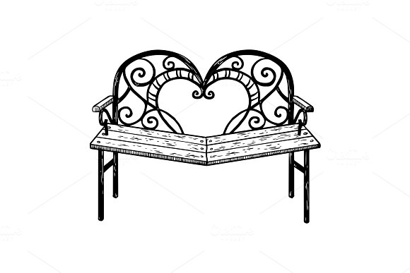 Reconciliation bench engraving vector illustration in Illustrations