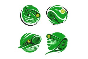 Tennis sport symbol with ball, racket and net