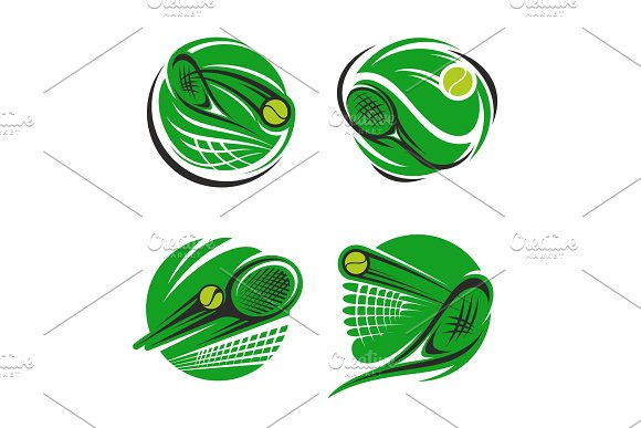 Tennis Sport Symbol With Ball Racket And Net