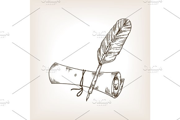 Ancient scroll and pen engraving vector