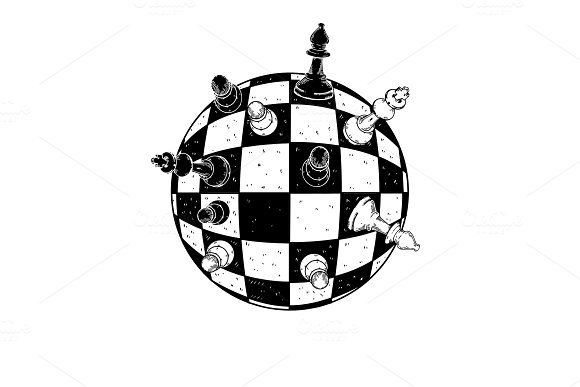 Spherical Chess Engraving Vector Illustration