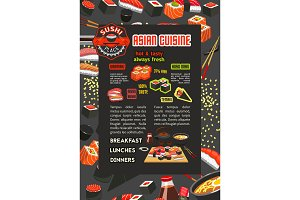 Japanese sushi bar and restaurant menu poster