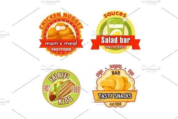 Fast food restaurant badge with snack and salad