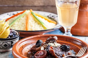 Traditional morocan beef and dry fruits tajine. Copy space