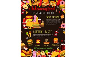 Fast food restaurant meal poster for menu design