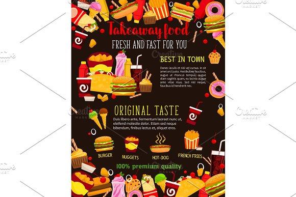 Fast food restaurant meal poster for menu design