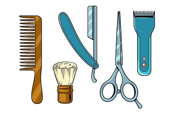 Barber tools pop art vector illustr…
