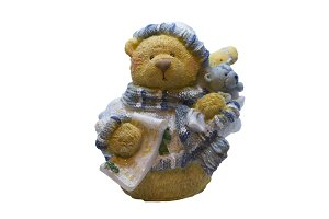 Cute classic teddy bear with Christmas tree decoration.
