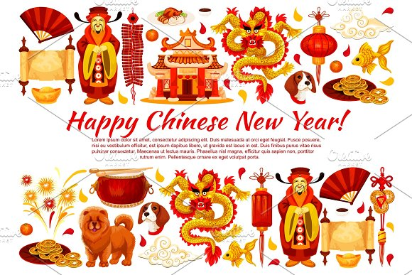 chinese new year symbols vector greeting card illustrations - Chinese New Year Symbols