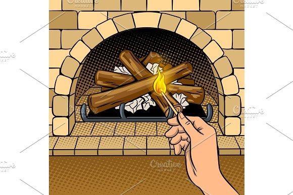 Fireplace match hand pop art vector illustration