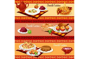 Danish cuisine dinner banner of scandinavian food