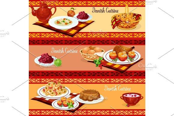 Danish Cuisine Dinner Banner Of Scandinavian Food