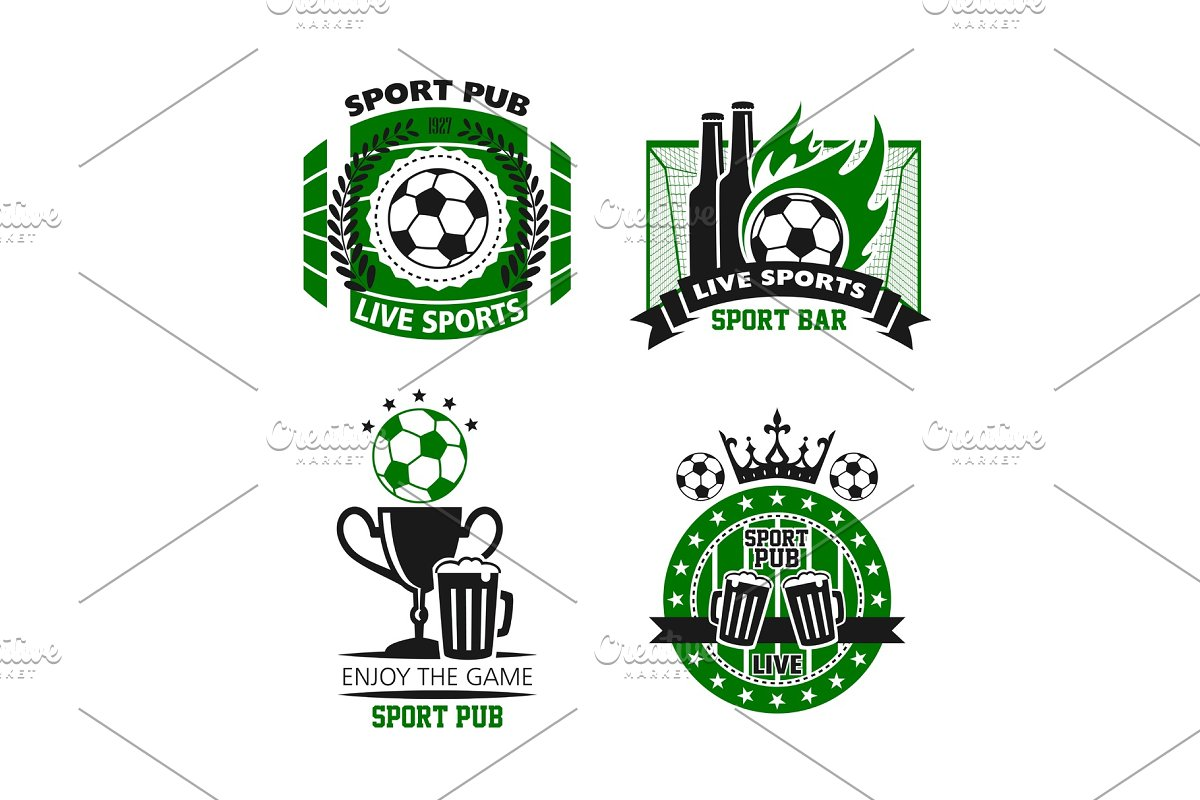 Sport pub icon of soccer ball, beer and cup