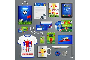Soccer sport club corporate identity set