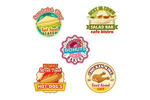 Fast food restaurant, donut shop, cafe bistro icon