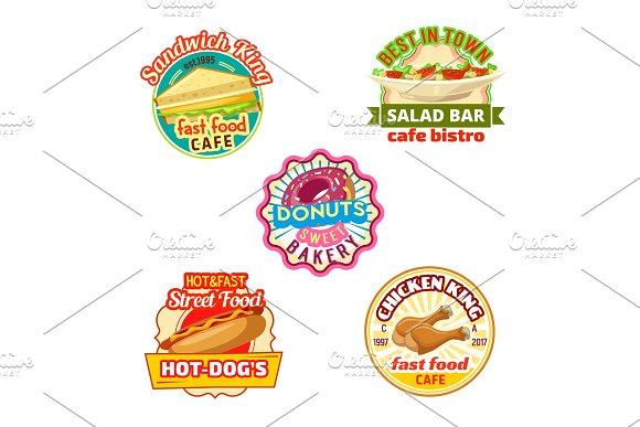 Fast food restaurant, donut shop, cafe bistro icon