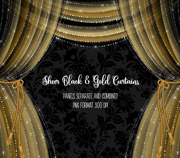 Sheer Black And Gold Curtains