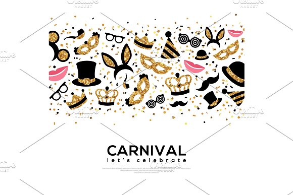 Carnival Concept Banner with Gold and Black Icons