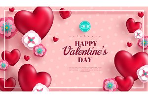 Valentines day concept pink background