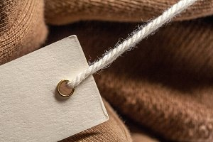 Brown fabric and tag