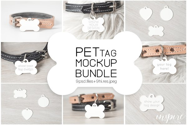 Bone Pet Tag PSD Mockup Bundle
