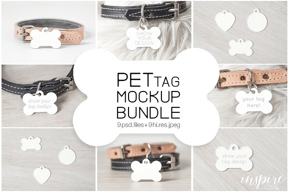 Download Bone Pet Tag PSD Mockup Bundle