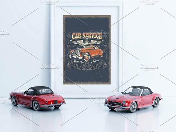 Frame/Poster Mockup Car thumbnail in Print Mockups