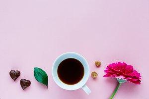 Flower, coffee and chocolate