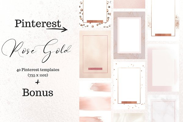 Pinterest Templates: Creative Stash - Pinterest rosé gold bundle