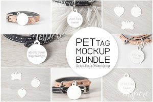 Circle Pet Tag PSD Mockup Bundle