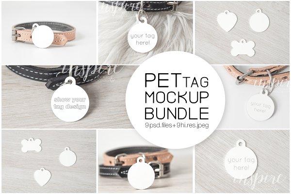 Circle Pet Tag PSD Mockup Bundle