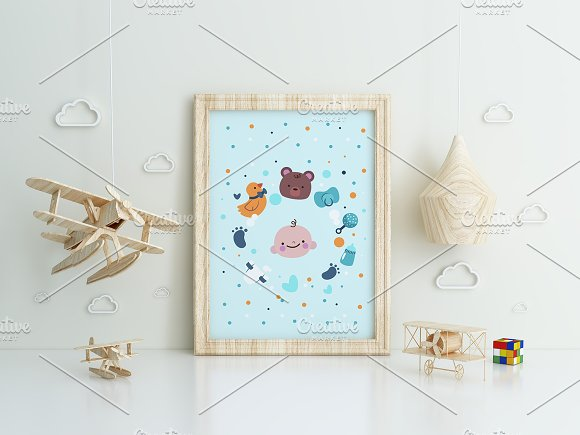 Set of 3 mockup Room airplane kids in Product Mockups - product preview 1