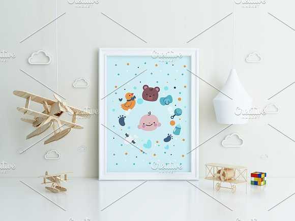 Set of 3 mockup Room airplane kids in Product Mockups - product preview 3