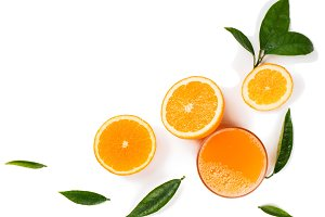 Orange fruits and juice.