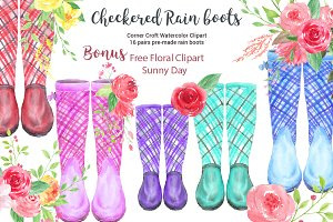 Watercolor Checkered Rain Boots