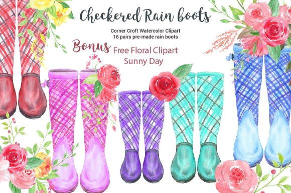 Watercolor Checkered Rain Boots