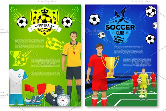 Soccer Sport Club Poster With Elements