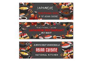 Japanese sushi banner of asian restaurant menu