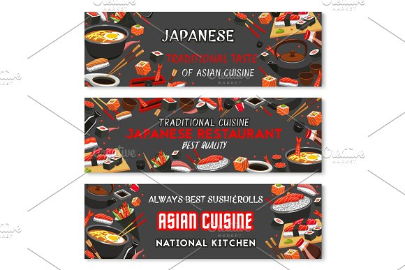 Japanese Sushi Banner Of Asian Restaurant Menu