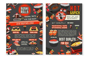 Japanese restaurant and sushi bar menu poster