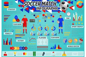 Soccer match infographic for sport theme