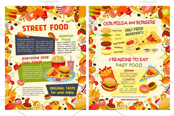 Fast food restaurant poster with burger and drink
