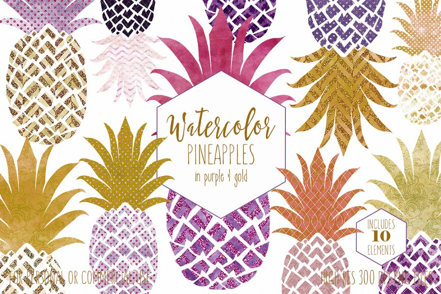 Tropical Pineapples Purple & Gold
