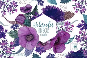 Twilight Tropical Watercolor Floral