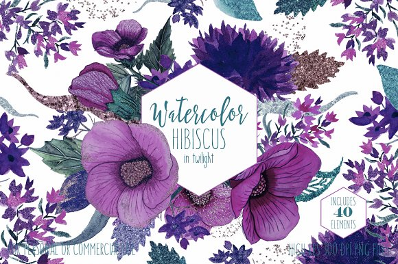 Twilight Tropical Watercolor Floral in Illustrations